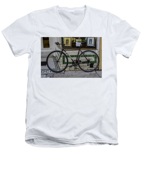 A Bicycle In The French Quarter, New Orleans, Louisiana Men's V-Neck T-Shirt