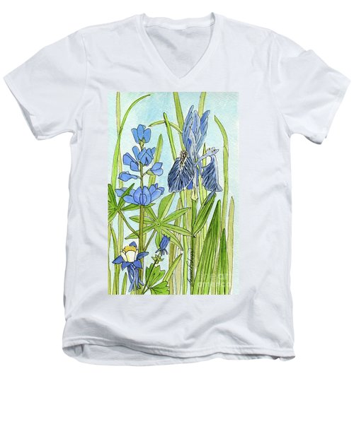 Men's V-Neck T-Shirt featuring the painting A Blue Garden by Laurie Rohner