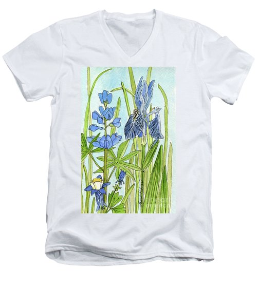 A Blue Garden Men's V-Neck T-Shirt