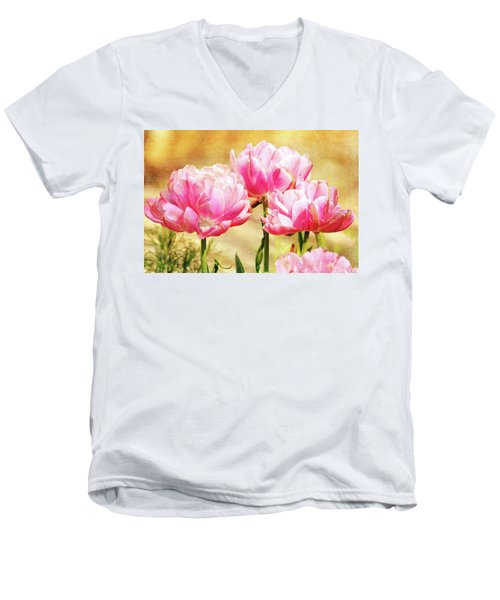 A Bouquet Of Tulips Men's V-Neck T-Shirt by Trina Ansel