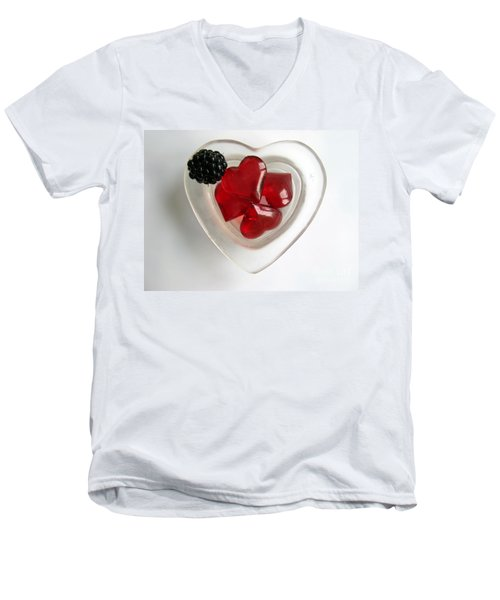Men's V-Neck T-Shirt featuring the photograph A Bowl Of Hearts And A Blackberry by Ausra Huntington nee Paulauskaite