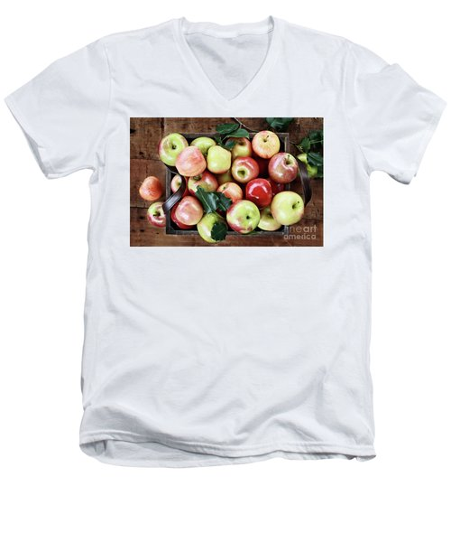 Men's V-Neck T-Shirt featuring the photograph A Bushel Of Apples  by Stephanie Frey