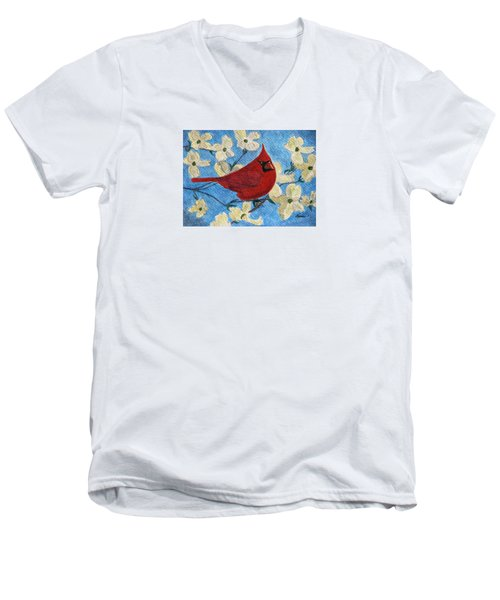 Men's V-Neck T-Shirt featuring the painting A Cardinal Spring by Angela Davies