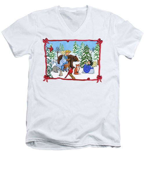 A Christmas Scene 2 Men's V-Neck T-Shirt by Sarah Batalka
