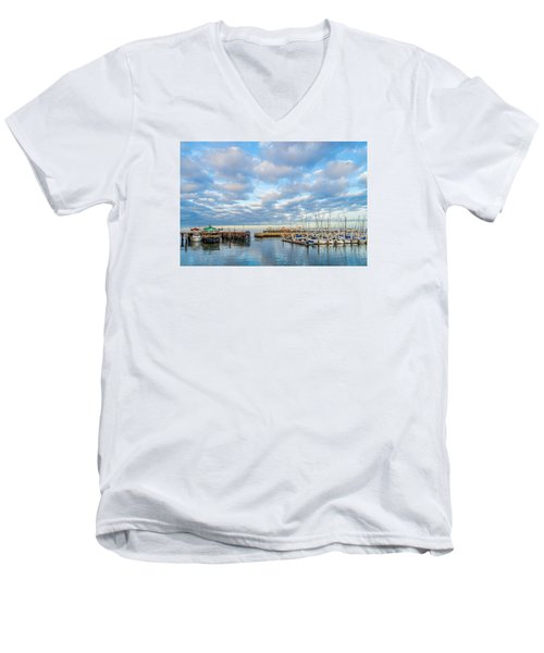 A Cloudy Day In Monterey Men's V-Neck T-Shirt by Derek Dean