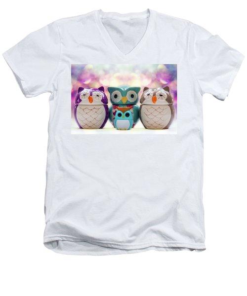 A Colourful Parliament Of Owls Men's V-Neck T-Shirt