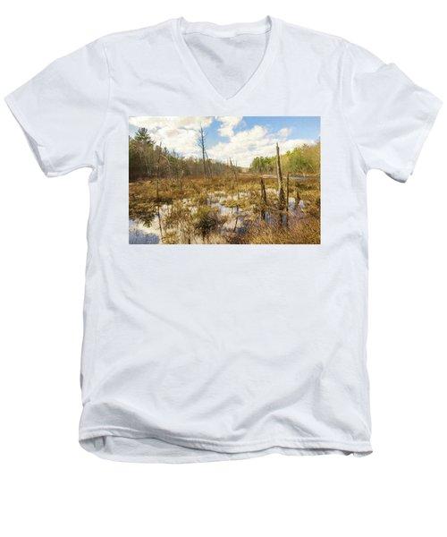 A Connecticut Marsh Men's V-Neck T-Shirt