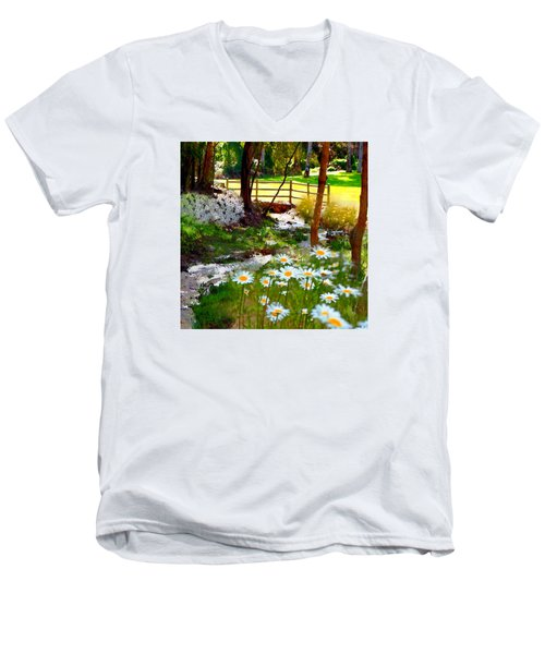 A Country Stream With Wild Daisies Men's V-Neck T-Shirt