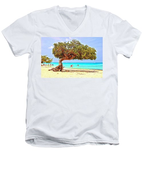 Men's V-Neck T-Shirt featuring the photograph A Day At Eagle Beach by DJ Florek