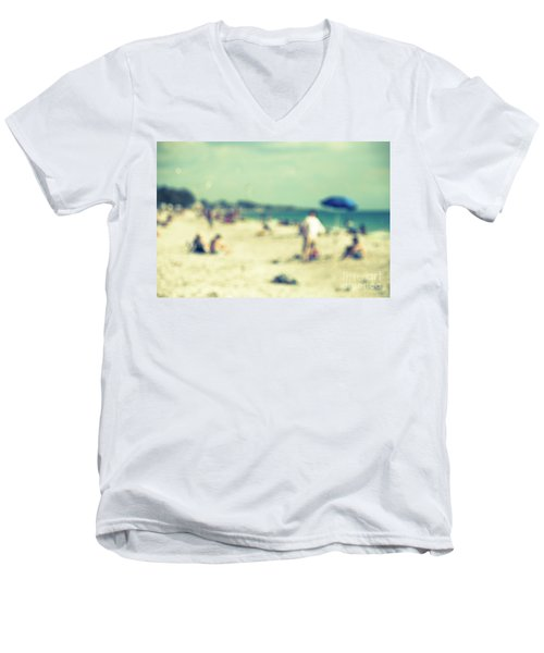 Men's V-Neck T-Shirt featuring the photograph a day at the beach I by Hannes Cmarits