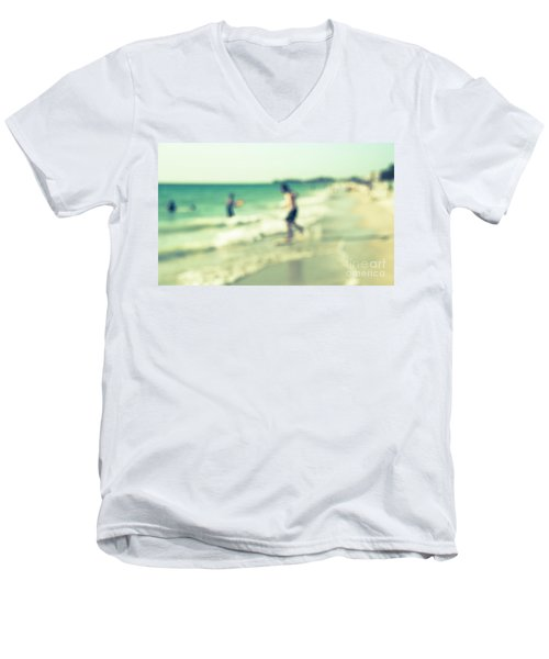 Men's V-Neck T-Shirt featuring the photograph a day at the beach III by Hannes Cmarits