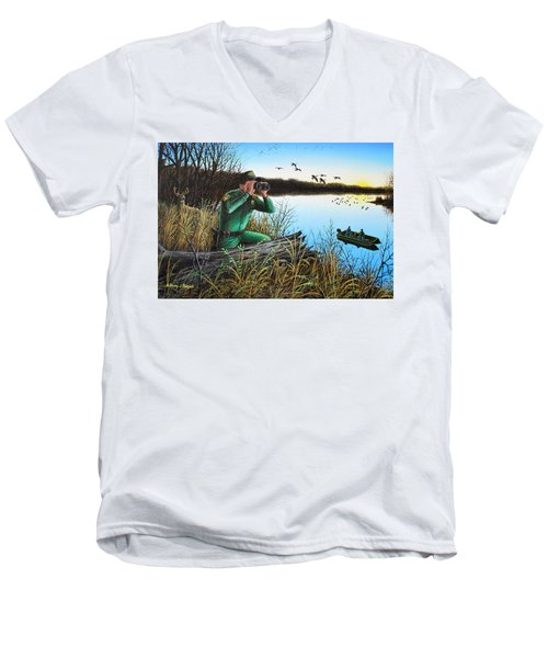A Day At The Office - Icoo Men's V-Neck T-Shirt