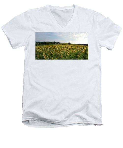 A Field Of Sunflowers Men's V-Neck T-Shirt by Janice Adomeit