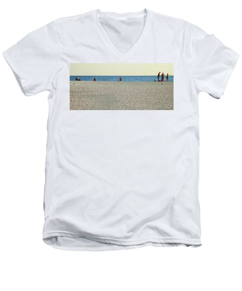 A Fine Day At The Beach Men's V-Neck T-Shirt by Ginny Schmidt