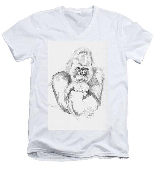 A Friendly Gorilla Men's V-Neck T-Shirt by John Keaton