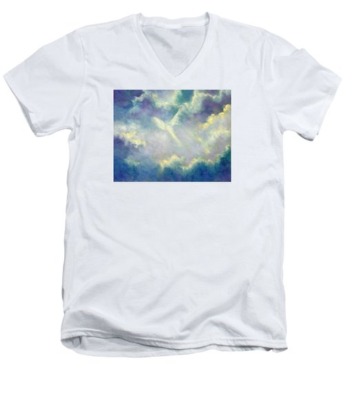 Men's V-Neck T-Shirt featuring the painting A Gift From Heaven by Marina Petro