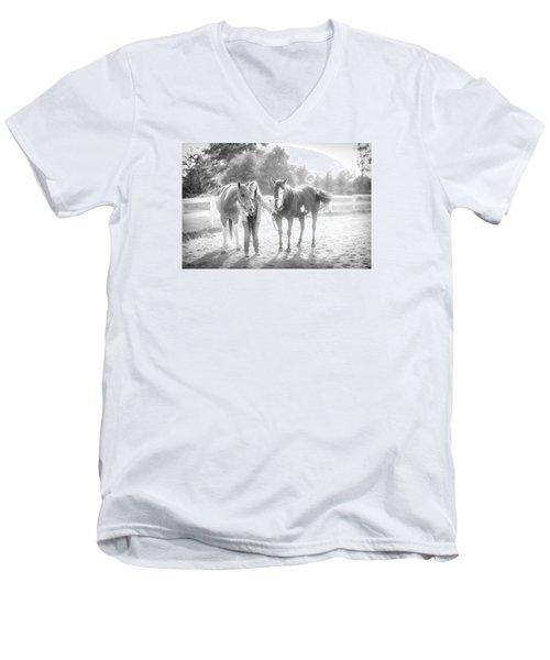 A Girl With Horses Men's V-Neck T-Shirt by Kelly Hazel