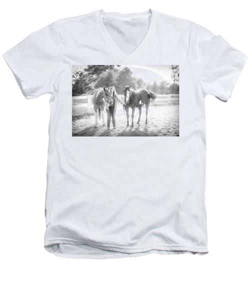 A Girl With Horses Men's V-Neck T-Shirt