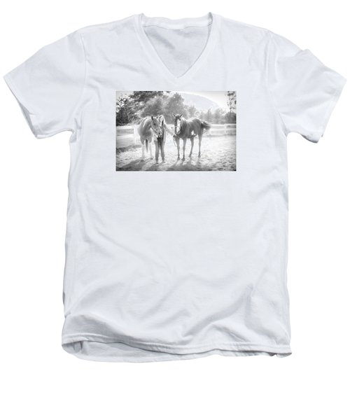A Girl With Horses Men's V-Neck T-Shirt