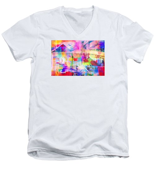 Wayzata Collage Men's V-Neck T-Shirt by Susan Stone