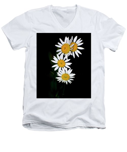 Men's V-Neck T-Shirt featuring the digital art A Group Of Wild Daisies by Chris Flees