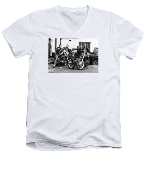Men's V-Neck T-Shirt featuring the photograph A Group Of Women Associated With The Hells Angels, 1973. by Lawrence Christopher