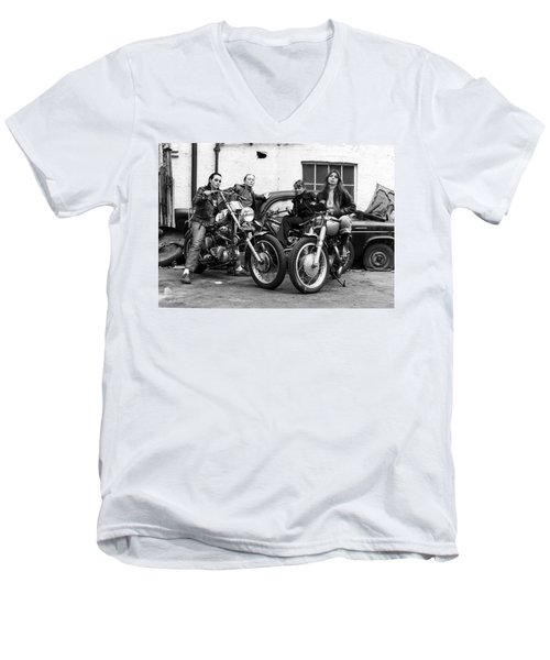 A Group Of Women Associated With The Hells Angels, 1973. Men's V-Neck T-Shirt