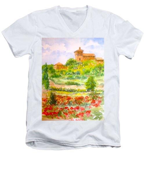 A Hillside Near San Gimignano Men's V-Neck T-Shirt