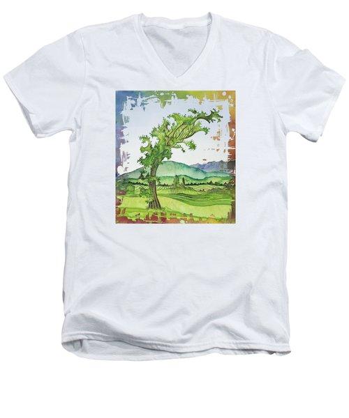 A Kale Leaf Visits The Country Men's V-Neck T-Shirt by Carolyn Doe