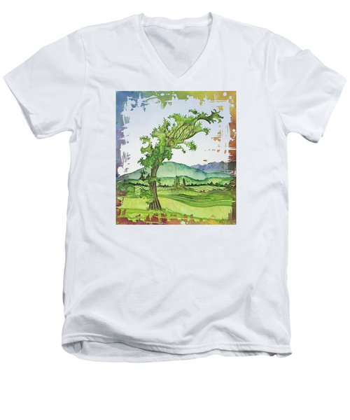 A Kale Leaf Visits The Country Men's V-Neck T-Shirt