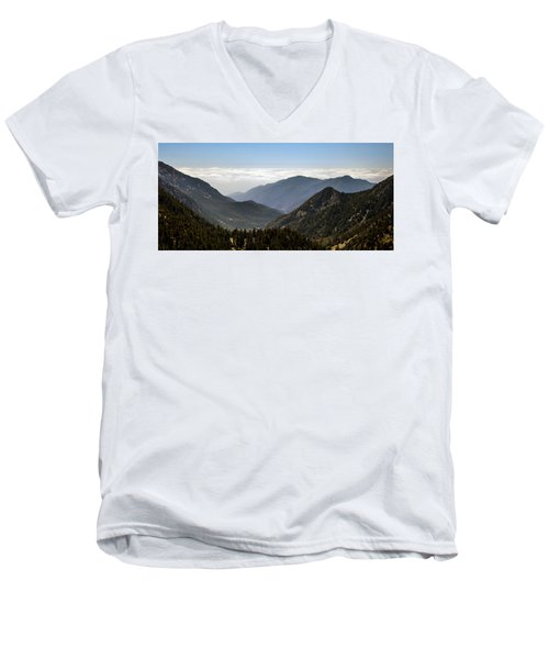 A Lofty View Men's V-Neck T-Shirt by Ed Clark