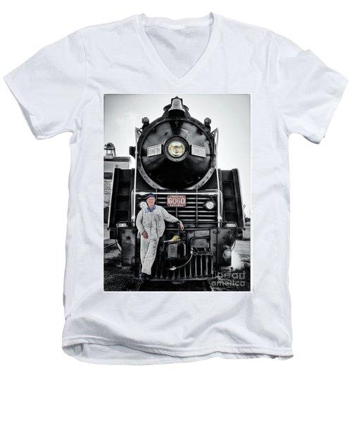 A Man And His Locomotive Men's V-Neck T-Shirt