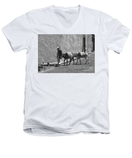 A Man With Two Burros Men's V-Neck T-Shirt