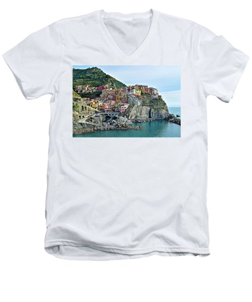 Men's V-Neck T-Shirt featuring the photograph A Manarola Morning by Frozen in Time Fine Art Photography