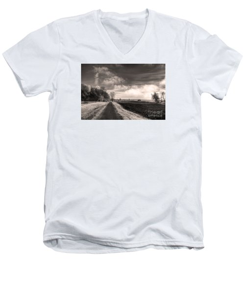 Men's V-Neck T-Shirt featuring the photograph A Mist Over The Missouri Bottoms by William Fields