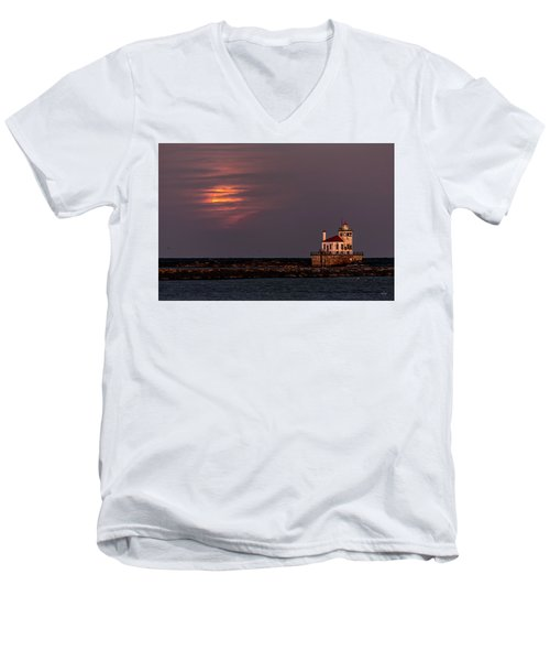 Men's V-Neck T-Shirt featuring the photograph A Moonsetting Sunrise by Everet Regal