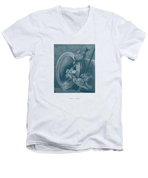A Nest In A Gun Men's V-Neck T-Shirt by David Davies