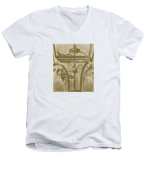 Men's V-Neck T-Shirt featuring the drawing A Nest In A Lamp by David Davies