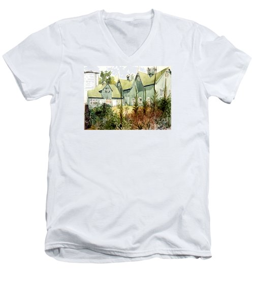 Watercolor Of An Old Wooden Barn Painted Green With Silo In The Sun Men's V-Neck T-Shirt