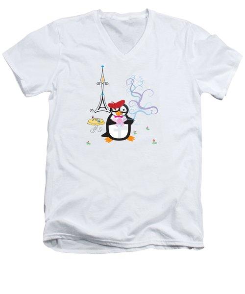 A Penguin In Paris Men's V-Neck T-Shirt by Jane E Rankin