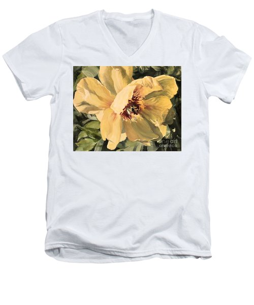 Men's V-Neck T-Shirt featuring the painting A Peony For Miggie by Laurie Rohner