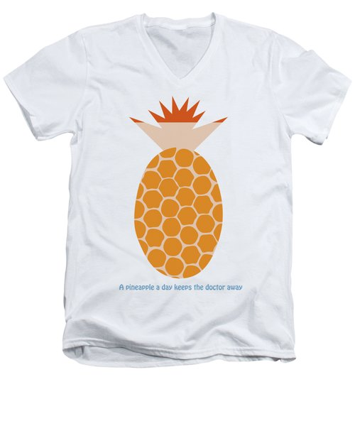 Men's V-Neck T-Shirt featuring the painting A Pineapple A Day Keeps The Doctor Away by Frank Tschakert