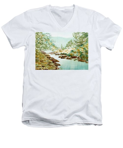 A Quiet Stream In Tasmania Men's V-Neck T-Shirt