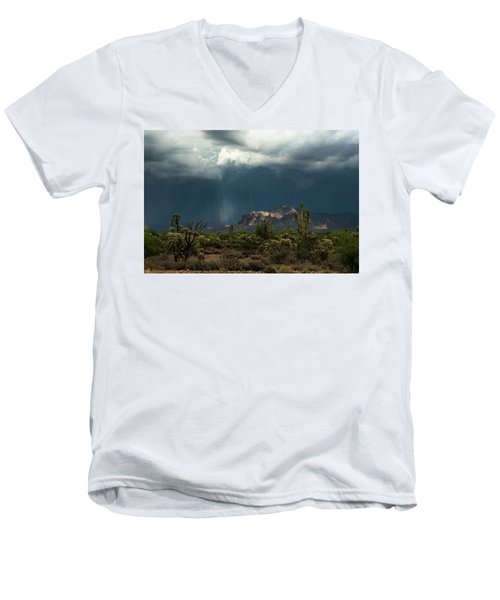 Men's V-Neck T-Shirt featuring the photograph A Rainy Evening In The Superstitions  by Saija Lehtonen