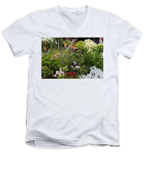 Men's V-Neck T-Shirt featuring the photograph A Riot Of Flowers by Lorraine Devon Wilke