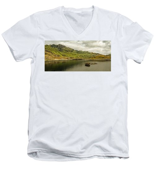 Men's V-Neck T-Shirt featuring the photograph A Rock And A Hard Place by Nick Bywater