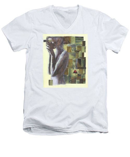 Men's V-Neck T-Shirt featuring the painting A Rose By Any Another Name by Geraldine Gracia