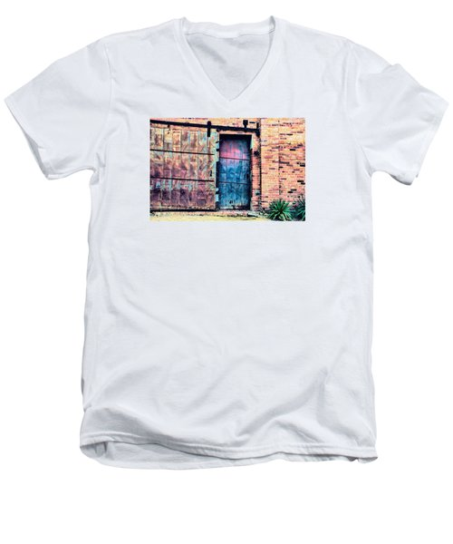 A Rusty Loading Dock Door Men's V-Neck T-Shirt by Diana Mary Sharpton