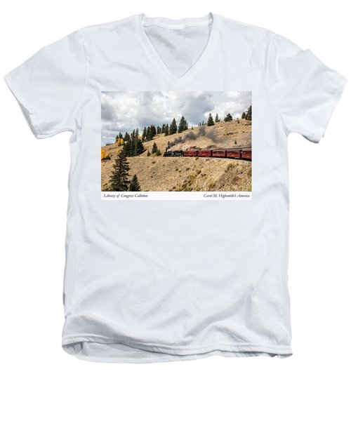 Men's V-Neck T-Shirt featuring the photograph A Scenic Railroad Steam Train, Near Antonito In Conejos County In Colorado by Carol M Highsmith