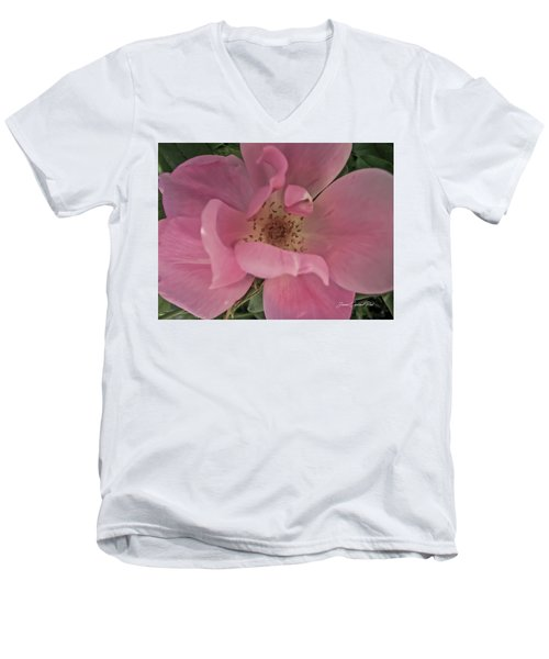 Men's V-Neck T-Shirt featuring the photograph A Single Pink Rose by Joann Copeland-Paul